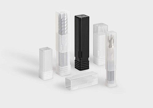 TopPack Conical: a packaging tube for shank tools, milling cutters, and drills.